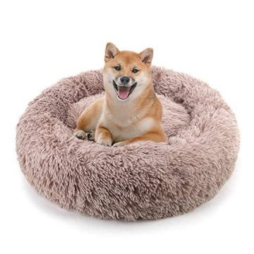 NOYAL Donut Dog Cat Bed Soft Plush Pet Cushion AntiSlip Machine Washable SelfWarming Pet Bed  Improved Sleep for Cats Small Medium Dogs