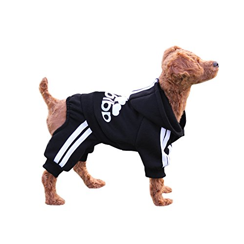 EastCities Winter Puppy Hoodie for Small Dogs Warm Coat Sweater Four Legs Pet Clothes for Dog CatBlack S