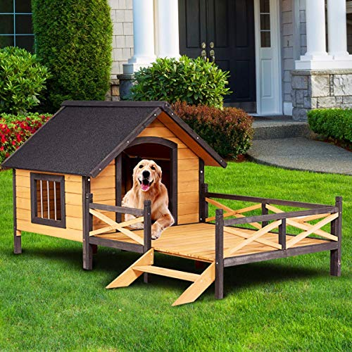 Tangkula Wooden Dog House Cabin Style Elevated Weather Waterproof Outdoor Large Pet Dog House Lodge with Porch Spacious Deck for Sunny Nap