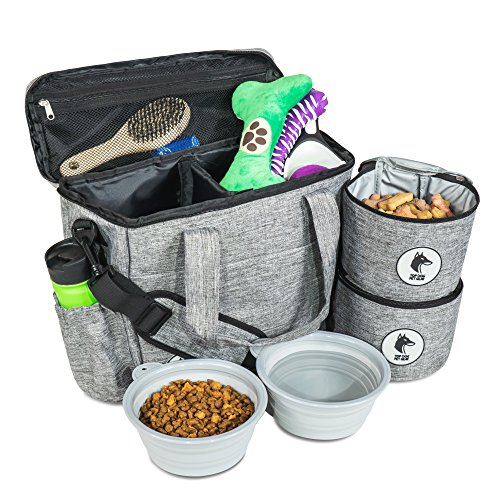 Top Dog Travel Bag  Airline Approved Travel Set for Dogs Stores All Your Dog Accessories  Includes Travel Bag 2X Food Storage Containers and 2X Collapsible Dog Bowls