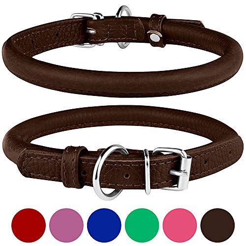 BronzeDog Rolled Leather Dog Collar Round Rope Pet Collars for Small Medium Large Dogs Puppy Cat Red Pink Blue Brown Rose Green