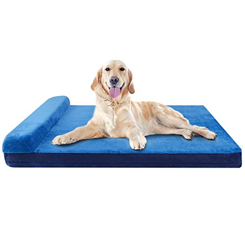 JoicyCo Dog Bed Large Orthopedic Foam Dog Bed Mat Washable Mattress with Pillow Machine Washable Cover