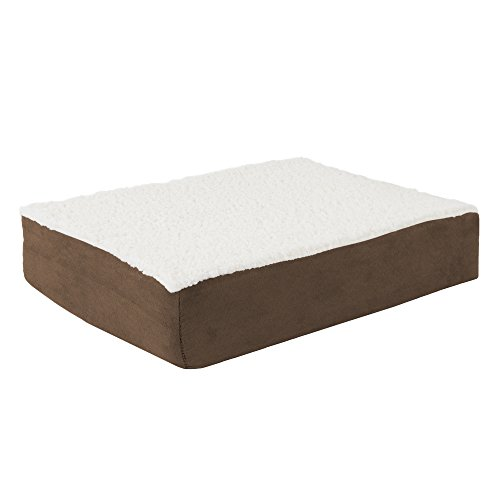 PETMAKER Orthopedic Sherpa Top Pet Bed with Memory Foam and Removable Cover 20x15x4 Brown