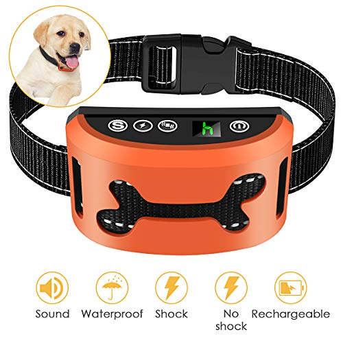 Bark Collar 2019 Adjustable Vibration Shock Sensitivity Level 17 Rechargeable Waterproof Smart Barking Detection Small Large Dog No Bark Collar