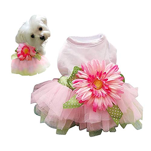 Petea Daisy Flower Gauze Tutu Dog Dress Vest Apparel Skirt Clothes Pet Puppy Bowknot Princess Clothes for Dogs and Cats