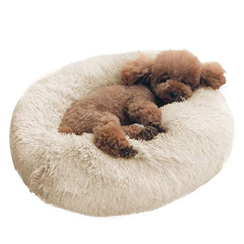 Dog Bed Cat Bed Cushion Bed Faux Fur Donut Cuddler SelfWarming Cat and Dog Bed Cushion for JointRelief and Improved Sleep  Machine Washable Waterproof Bottom 18 x 18 x 55Inch