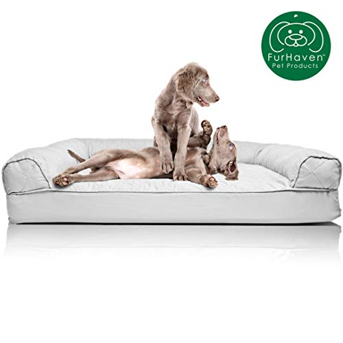 Furhaven Pet Dog Bed   Quilted Traditional SofaStyle Living Room Couch Pet Bed Replacement Cover for Dogs & Cats