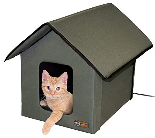 K&H Pet Products 3993 Outdoor Kitty House 18 x 22 x 17Inches Heated  Olive