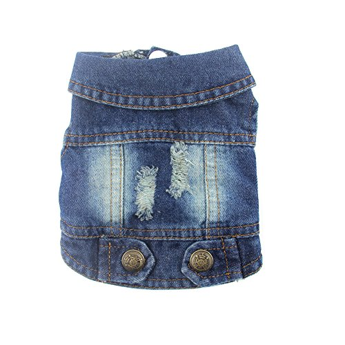 DOGGYZSTYLE Pet Vests Dog Denim Jacket Hoodies Puppy Jacket for Small Medium Dogs