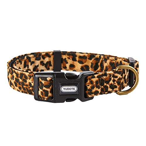 YUDOTE Dog Collars Adjustable Pet Collars for Small Medium Large Dogs and Puppies Leopard Pattern SkinFriendly Flocking Well Made Soft & Comfy
