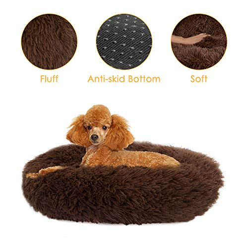 SlowTon Pet Calming Bed Donut Cuddler Nest Warm Soft Plush Dog Cat Cushion with Cozy Sponge NonSlip Bottom for Small Medium Pets Snooze Sleeping Autumn Indoor Machine Washable