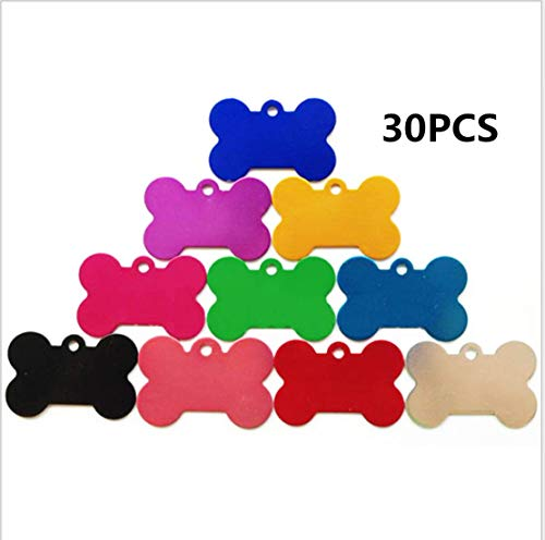 yiwoo 38mmPet ID Tag Bone Shape Aluminum Alloy for Dogs and Cats Pet ID Tag(30PCS)