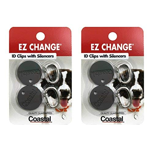 Coastal Pet Products EZ Change Dog ID Clip with Silencer | 2ID Clips + 2Silencers per Pack |