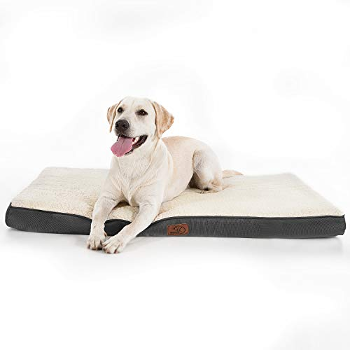 Bedsure Large Dog Bed for Small Medium Large Dogs Up to 75 lbs  Orthopedic EggCrate Foam with Removable Washable Cover  WaterResistant Pet Mat for Crate Grey