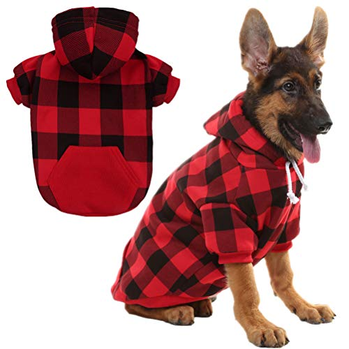 KOOLTAIL Plaid Dog Hoodie for Large Dogs Pet Clothes Red L