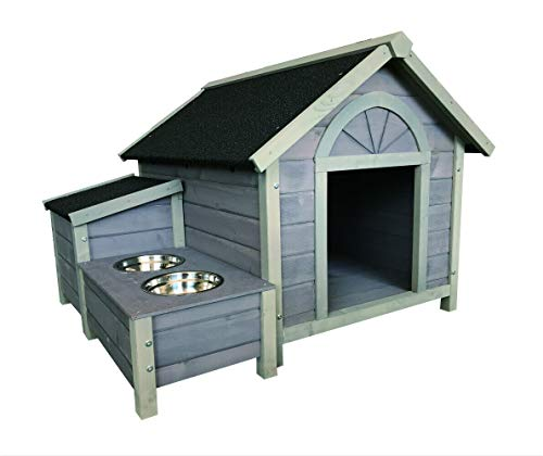 Seny Outdoor Wooden Large Dog House Dog Kennel with Dog Bowls W42xD39xH30 inch