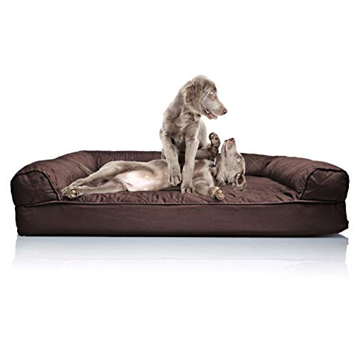 Furhaven Pet Dog Bed | Orthopedic Quilted Traditional SofaStyle Living Room Couch Pet Bed w  Removable Cover for Dogs & Cats Coffee Jumbo