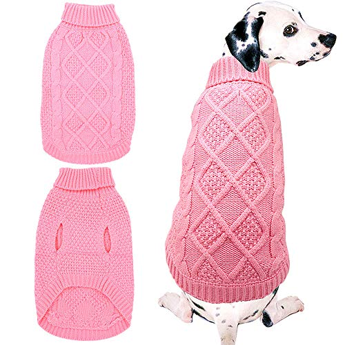 Mihachi Dog Sweater  Winter Coat Apparel Classic Cable Knit Clothes for Cold WinterPinkM